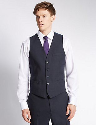 Navy Modern Slim Waistcoat, NAVY, catlanding
