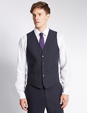 Navy Modern Slim Fit Waistcoat, NAVY, catlanding