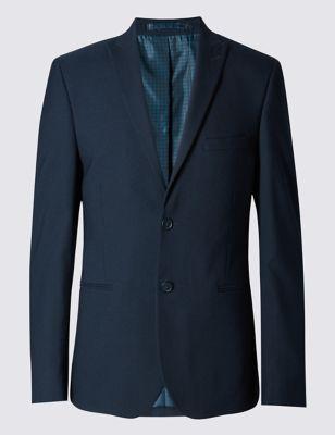 Приталенный приджак Contemporary из смесовой шерстяной ткани в рогожку с 2 пуговицами