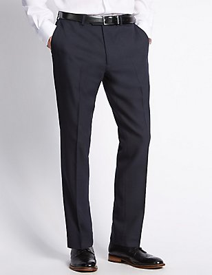 Navy Modern Slim Fit Trousers, NAVY, catlanding