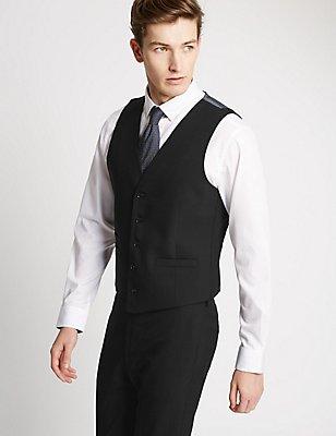 Black Textured Modern Slim Fit Waistcoat, BLACK, catlanding