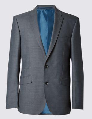 Однобортный приталенный пиджак Grey с 2 пуговицами M&S Collection T152015