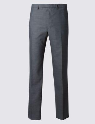 Зауженные деловые брюки Grey с шерстью M&S Collection T152016