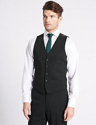 Charcoal Textured Slim Fit Waistcoat, CHARCOAL, catlanding