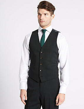 Charcoal Textured Slim Fit Waistcoat, CHARCOAL, catlanding
