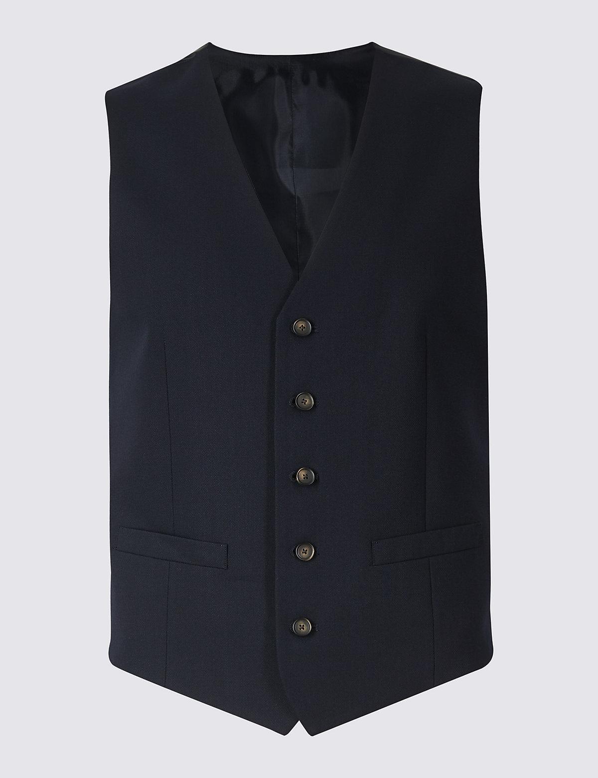 Мужской жилет с рельефной отделкой и добавлением шерсти M&S Collection. Цвет: темно-синий