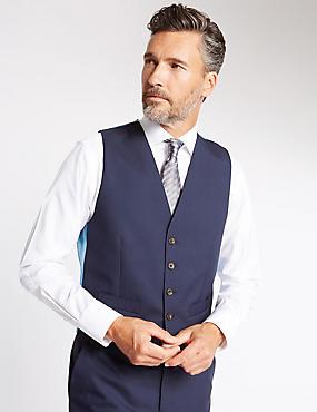 Gilet de costume bleu marine en laine coupe ajustée, BLEU MARINE, catlanding