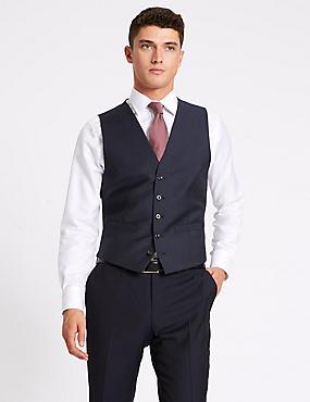 Navy Tailored Fit Wool Waistcoat, NAVY, catlanding