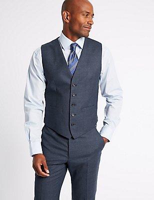 Textured Tailored Fit Waistcoat, DARK DENIM, catlanding