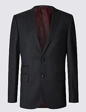Big & Tall Charcoal Slim Fit Wool Jacket, CHARCOAL, catlanding