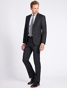 Charcoal Tailored Fit Wool Jacket, CHARCOAL, catlanding