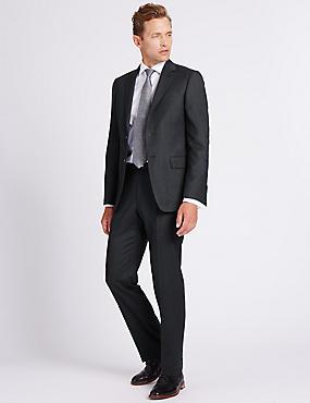Charcoal Textured Regular Fit Wool Jacket, CHARCOAL, catlanding