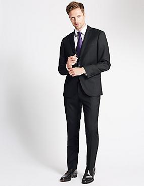 Charcoal Textured Slim Fit Wool Jacket, CHARCOAL, catlanding