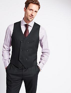 Charcoal Textured Slim Fit Wool Waistcoat, CHARCOAL, catlanding