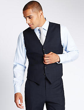 Navy Checked Tailored Fit Wool Waistcoat, NAVY, catlanding