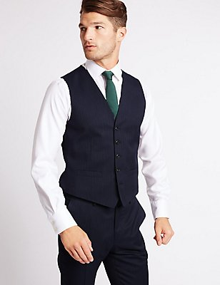 Navy Striped Regular Fit Wool Waistcoat, NAVY, catlanding