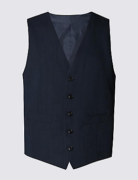 Blue Slim Fit  Waistcoat, BLUE, catlanding