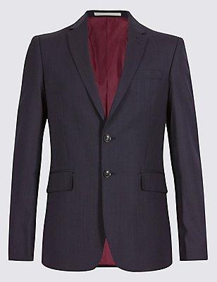 Blue Slim Fit Jacket, BLUE, catlanding