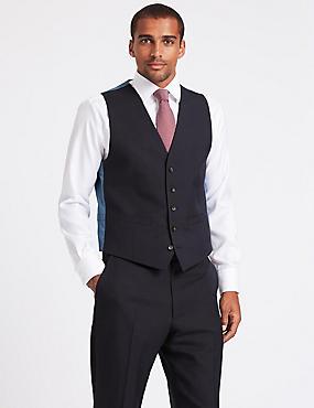 Navy Textured Regular Fit Waistcoat, NAVY, catlanding