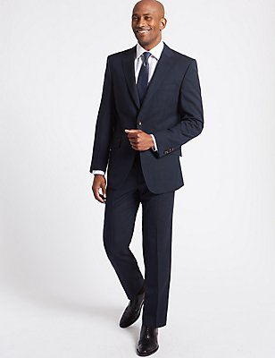 Navy Striped Regular Fit Jacket, NAVY, catlanding