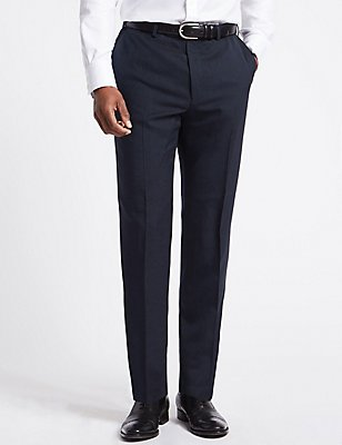 Navy Striped Regular Fit Trousers, NAVY, catlanding