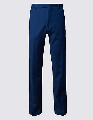 Pure New Wool Pinstriped Flat Front Trousers, INDIGO, catlanding