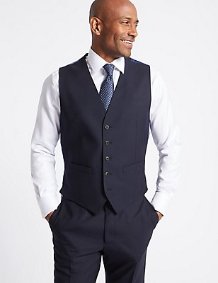 Navy Regular Fit Wool Waistcoat, NAVY, catlanding