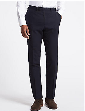 Big & Tall Navy Regular Fit Wool Trousers, NAVY, catlanding