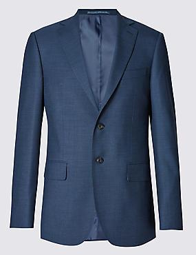 Big & Tall Blue Regular Fit Wool Jacket, BLUE, catlanding