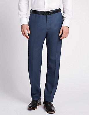 Big & Tall - Pantalón azul regular de lana, AZUL, catlanding