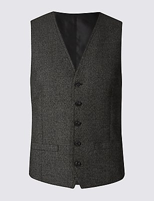 Black Modern Slim Textured Waistcoat, BLACK/WHITE, catlanding