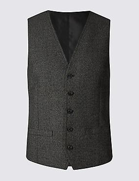 Gilet de costume noir coupe slim moderne à motif texturé, NOIR/BLANC, catlanding