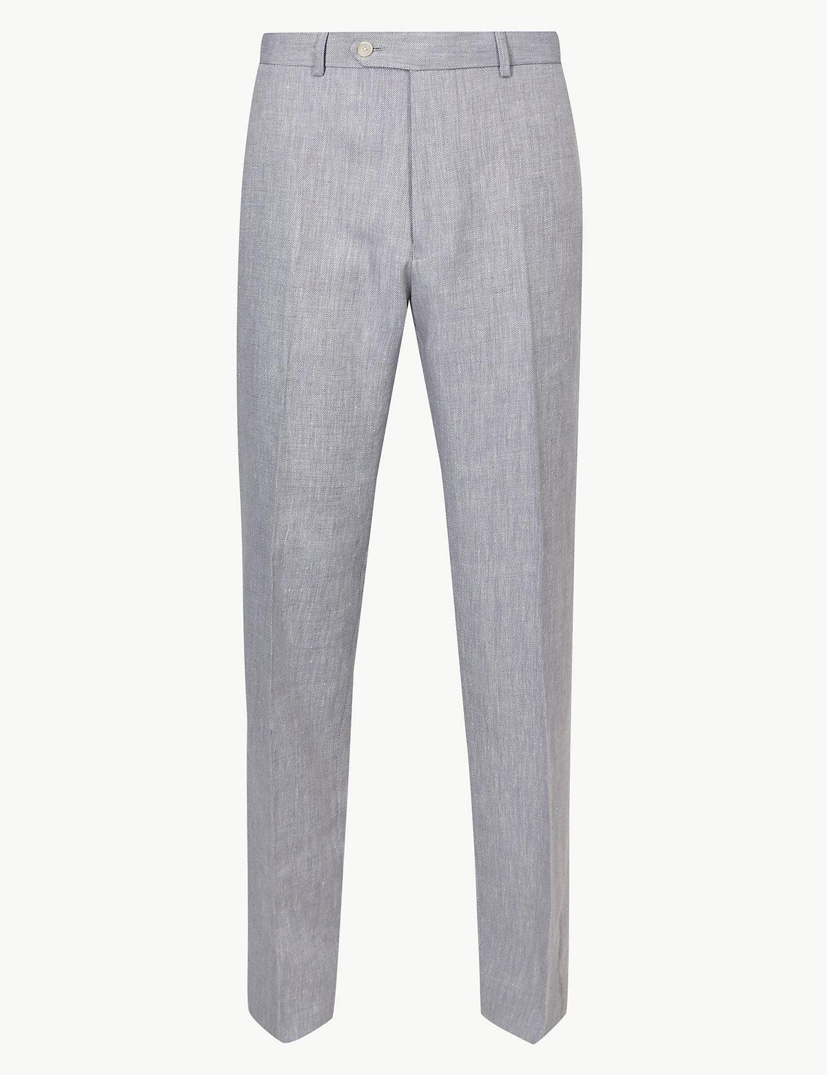 Классические мужские брюки с добавлением льна Miracle M&S Collection. Цвет: серый