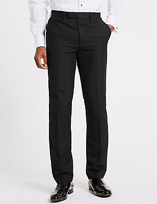 Black Slim Fit Dinner Trousers, BLACK, catlanding