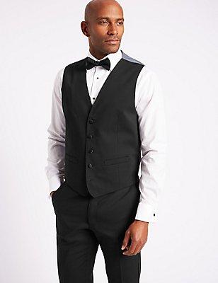Black Regular Fit Dinner Waistcoat, BLACK, catlanding