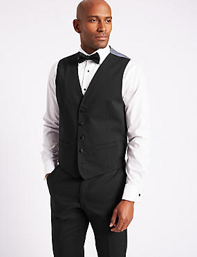 Black Regular Fit Dinner Waistcoat, BLACK, catlanding