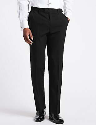 Big & Tall Black Regular Fit Trousers, BLACK, catlanding