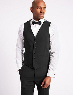 Black Slim Fit Dinner Waistcoat, BLACK, catlanding