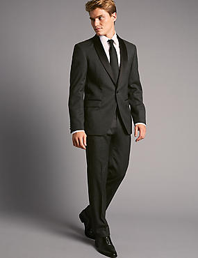 Charcoal Tailored Fit Italian Wool Jacket, CHARCOAL, catlanding