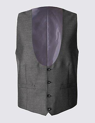 Grey Textured Tailored Fit Waistcoat, GREY, catlanding