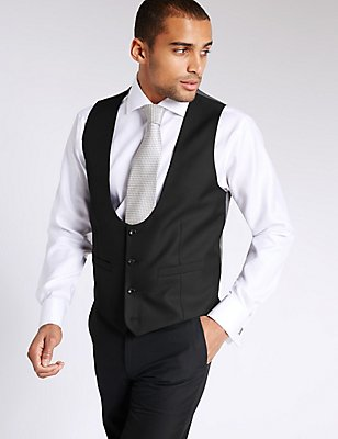 Black Tailored Fit Waistcoat, BLACK, catlanding