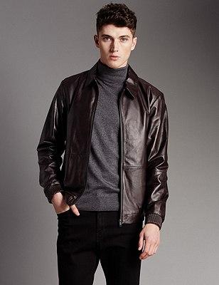 Leather Tailored Fit Harrington Bomber Jacket, CHOCOLATE, catlanding
