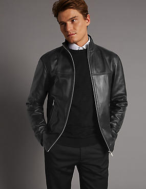 Leather Funnel Neck Jacket, BLACK, catlanding