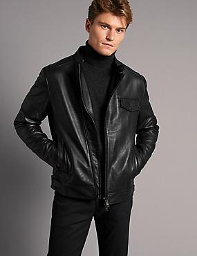Veste en cuir asymétrique avec fermeture à glissière, NOIR, catlanding
