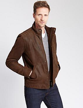Geniune Leather Casual Biker Jacket, DARK TAN, catlanding