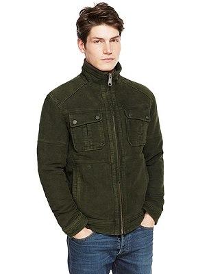 Pure Cotton Slim Fit Pigment Moleskin Jacket, OLIVE, catlanding