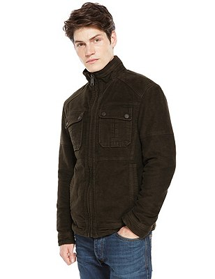 Pure Cotton Slim Fit Pigment Moleskin Jacket, BROWN, catlanding