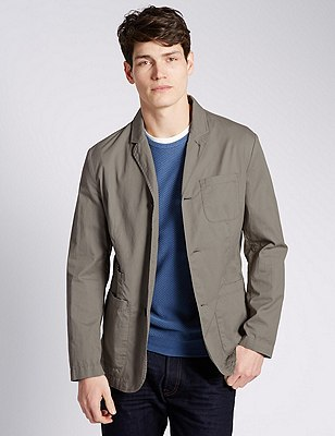 Pure Cotton Blazer, LIGHT KHAKI, catlanding
