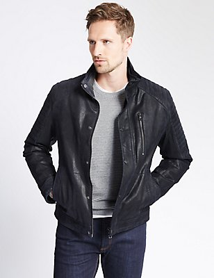 Leather Biker Jacket, NAVY, catlanding