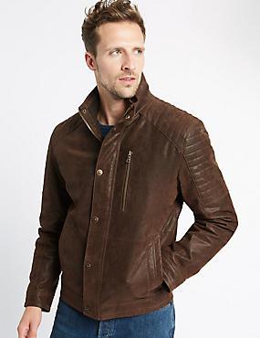 Leather Biker Jacket, TAN, catlanding